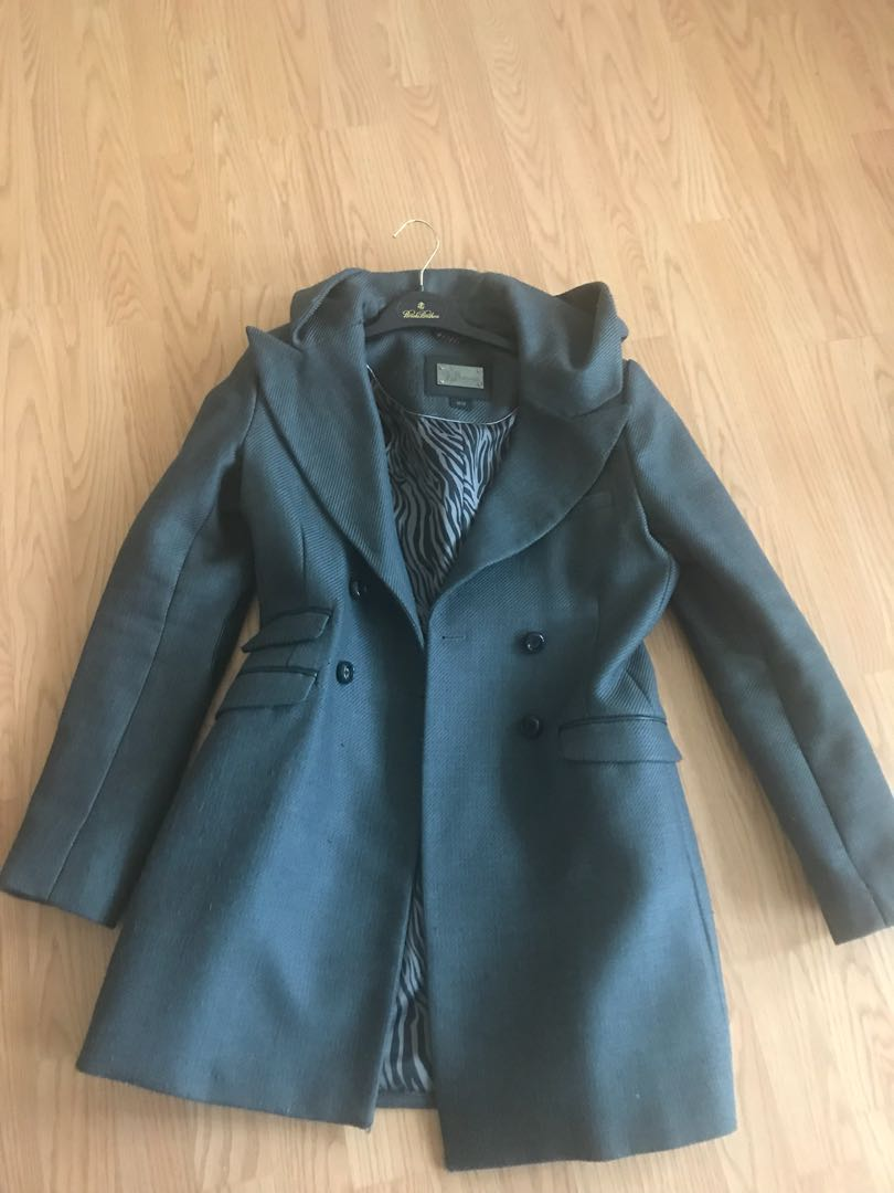 Mackage wool and leather trim coat