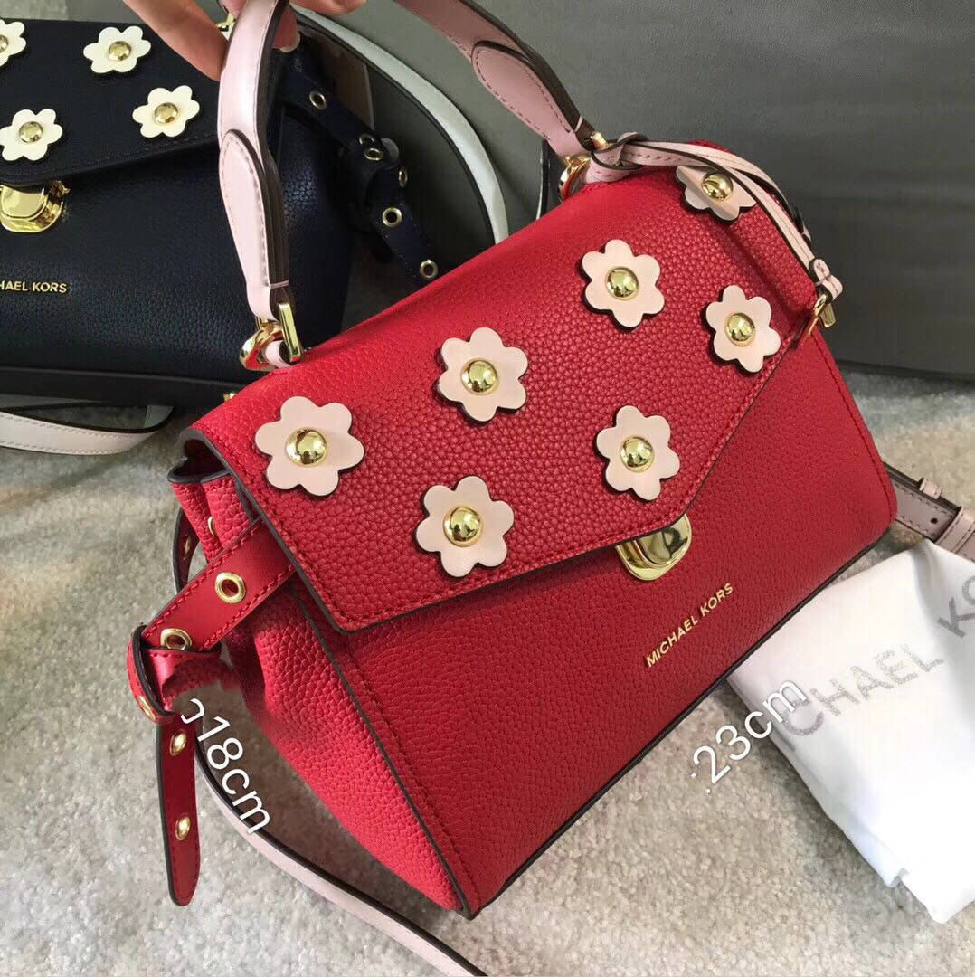 4ca17694a417b Michael Kors Bristol Floral Appliqué Leather Crossbody