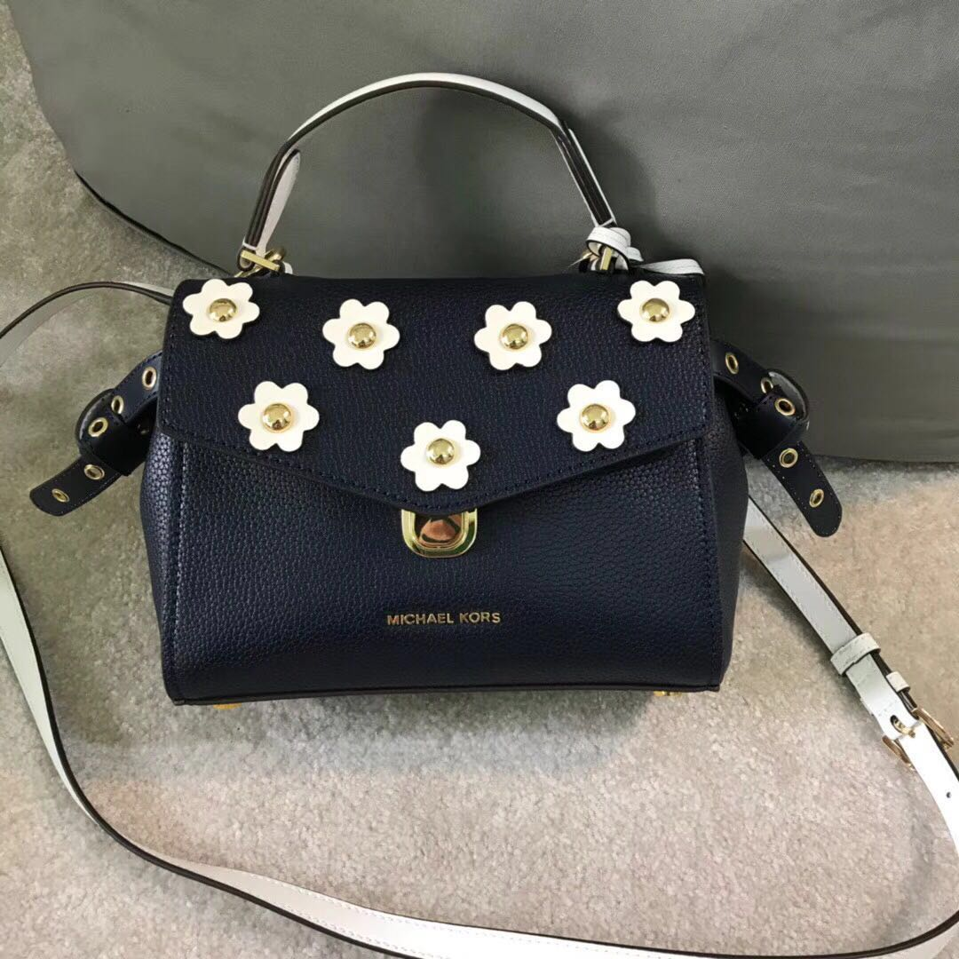 8793500ef8a51f Michael Kors Bristol Floral Appliqué Leather Crossbody, Women's ...