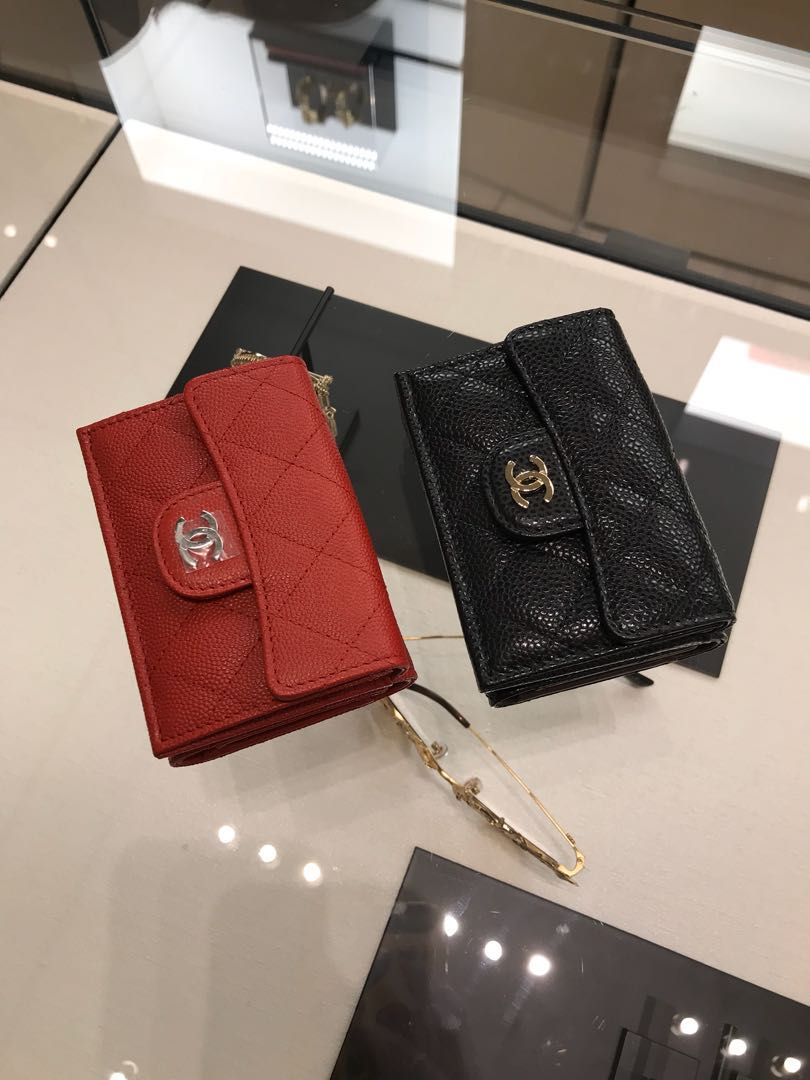 41bb1b815131 NEW Arrivals Chanel small wallet black/red caviar, Luxury, Bags ...