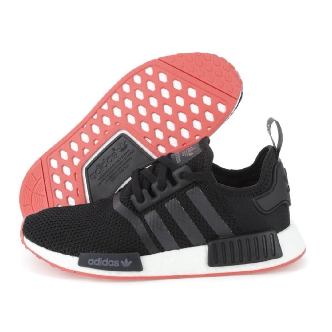cheap for discount 394c0 b2108 PO) Adidas NMD R1 Black / Solar Red, Men's Fashion, Footwear ...