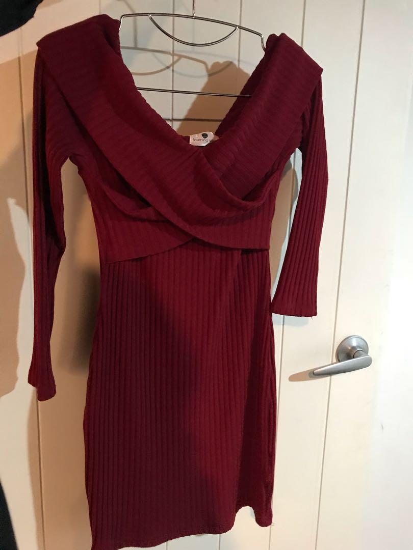 Red - Off the shoulder dress