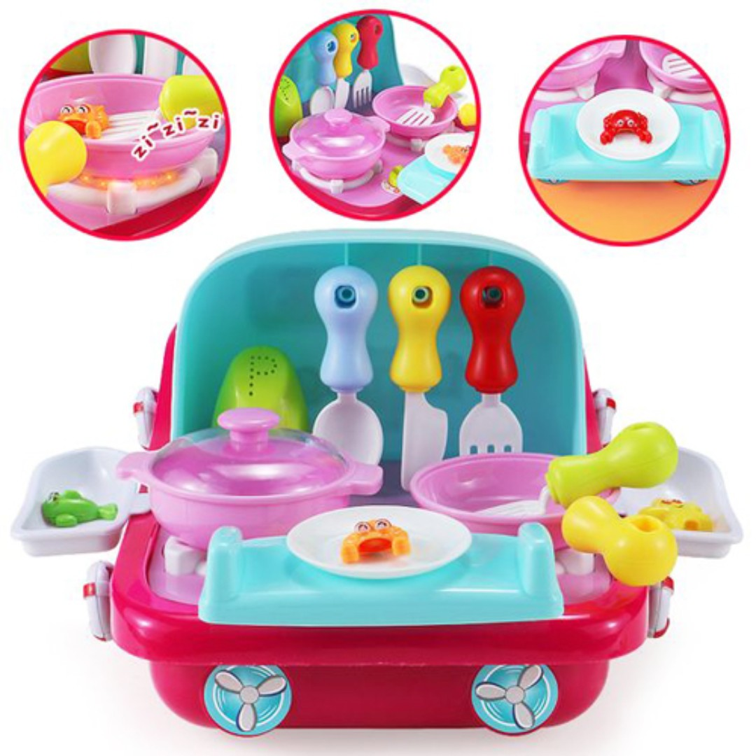 Role Play Toy Kitchen Fish Toys Game 2 in 1 Pull Along Boat Toy Go ...