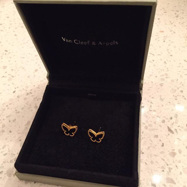 Van Cleef Arples butterfly ear studs