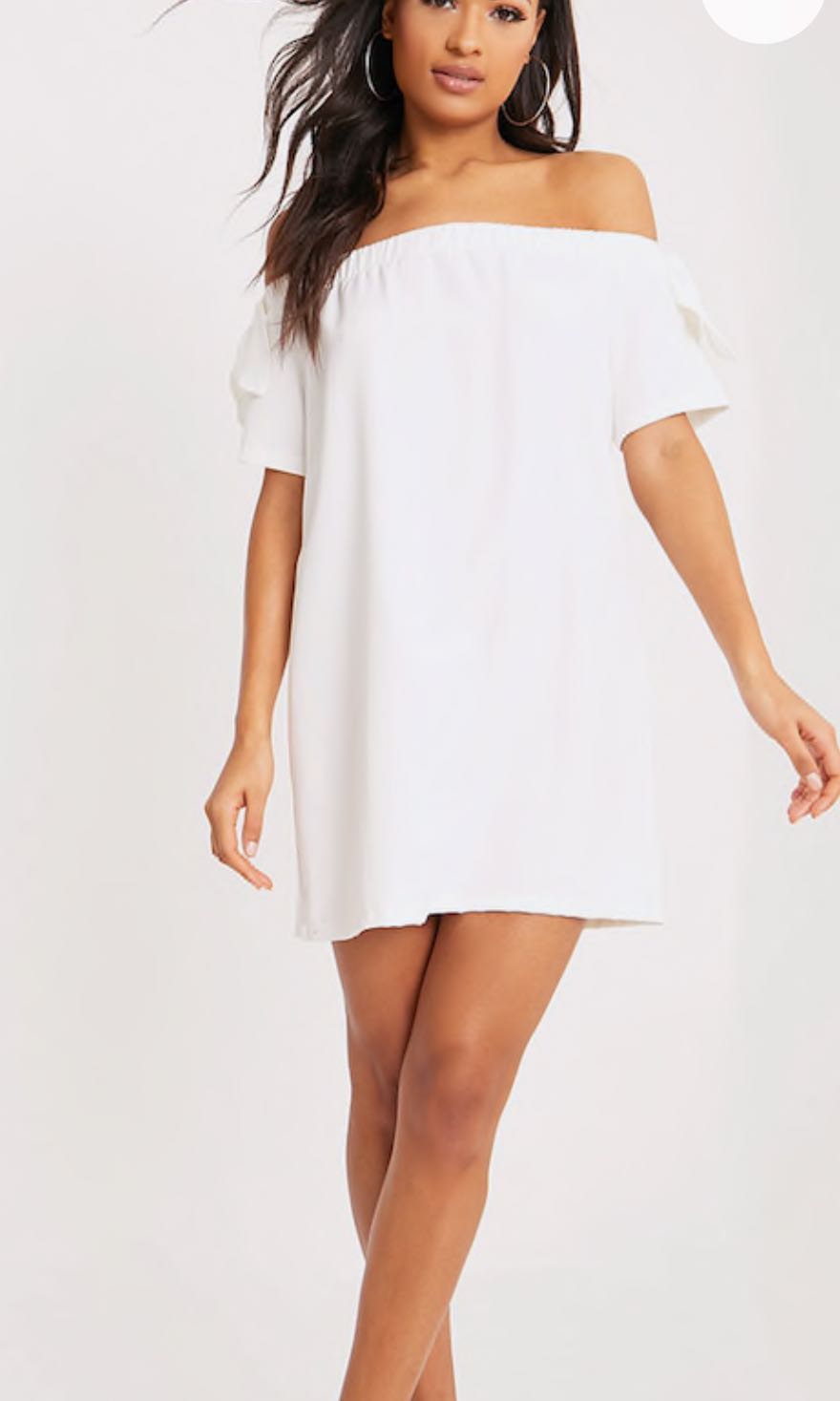 6e8458593a16 White Bardot off shoulder dress from FACTORIE