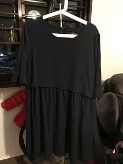 Navy Empire Cut Maternity & Nursing Dress Size L