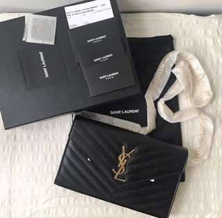 [New] Authentic Large Saint Laurent YSL Wallet On Chain WOC GHW **Reserved**
