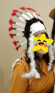 Red Indian Feather Hat headdresse