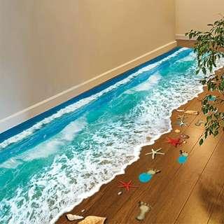 全新 沙灘🏊3D立體防水自黏地板貼紙 #五十元好物