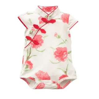 Cute Chinese Style Baby Girl Cheongsam One-piece Dress Short Sleeve Rompers with Buttons