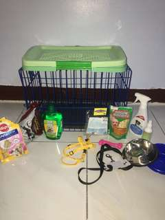 1-Aloe vera Shampoo (new) 2-collars (new) 3-diapers(new) 4-poop Trainer (new) 5-toy(new) 6-cage (used) 7-bowls (used only for one week) 8-Candy (used only few pieces) 9-dog food (used only for one week)