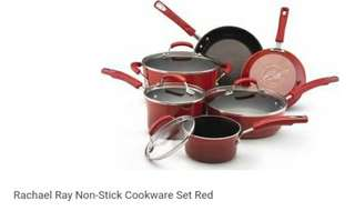 Used once !!! 2 identical 16 pc plates sets and Rachael Ray pot+pan set