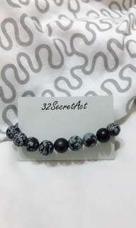 Snowflake Obsidian Bracelet Handmade