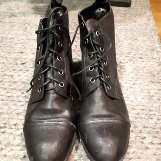 Charles & Keith laced up boot black (Brand New)