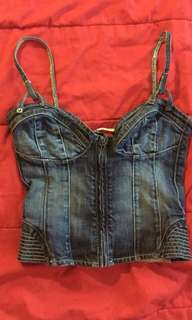 Guess premium corset denim top