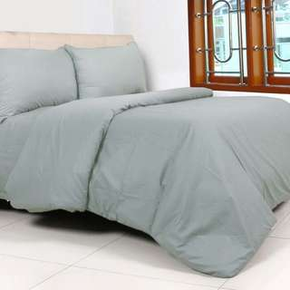 Ready stok - Bed cover set polos katun uk. 160 x 200