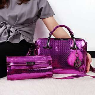 Set 2 in 1 DIOR Nirina Embossed Glossy Leather Bags 6369*