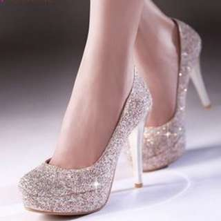 BRIDAL CLASSY CHIC LADIES WOMAN HIGH HEEL SHOES WEDDING DINNER EVENT DIAMOND SILVER WHITE BRIDES CLUBBING