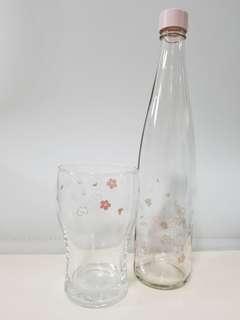 韓國櫻花玻璃樽及杯子套裝