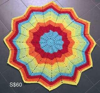 Round Ripple Rainbow baby blanket