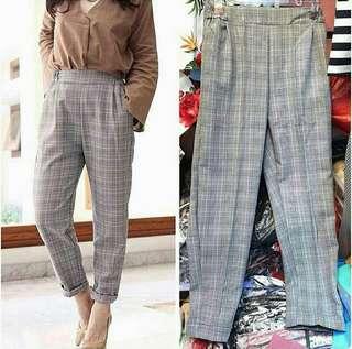 Celana bahan wanita Bershka chino pants celana panjang motif celana kerja motif