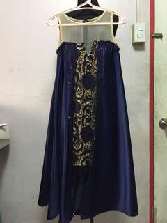 Midnight blue evening dress