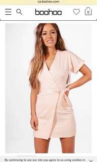 Boohoo petite nude/pink wrap dress