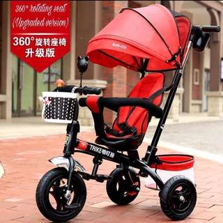 Reversible Seat Stroller, Tricycle (360° rotating seat, upgraded version, bi-direction, 5 point safety belt, Anti-UV)