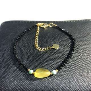 Natural Black Spinel Bracelet with Amber and Turquoise
