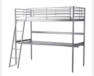 Bunk bed with attached desk