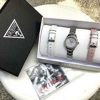Original Guess Watch Leather and Steel Set