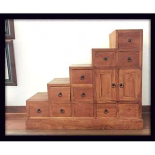 Designer Stairway Solid Teak Wood Chest of Drawers