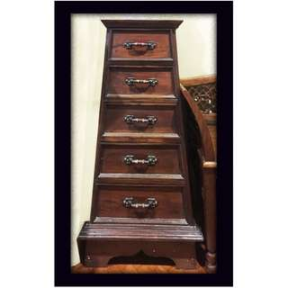 Walnut Stained Solid Teak Wood Triangle Chest of Drawers