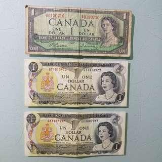 1954  1973  加拿大一元  $70元3張 品相見圖