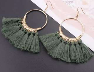 KHAKI TASSEL EARRINGS NEW