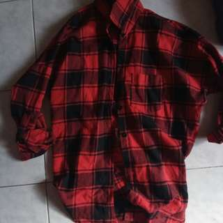 Black and red checkered button down