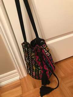 Colourful print bucket bag