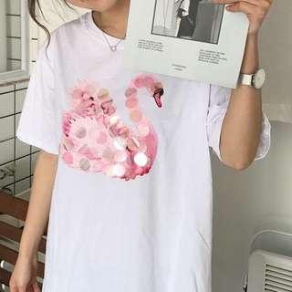 🚚 韓版天鵝亮片短袖T恤