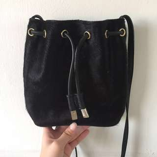 Topshop Horsehair Black Mini Bucket Bag