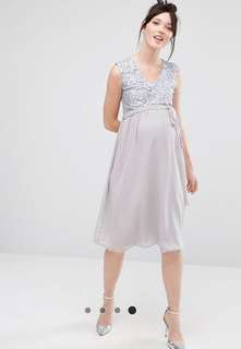 Sleeveless Sequin lace Maternity bodice midi dress with tulle skirt