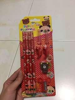Super Practical 🔺 Students Special Suits  Wooden Pencil,a Pencils Cap,Holding a Pencil ,Sharpness,Erasers