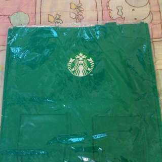 🚚 星巴克圍裙造型不織布手提購物袋(綠色)