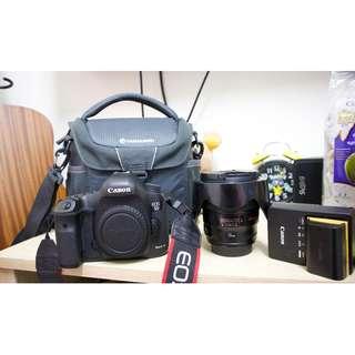 canon 5d mark iii + lens +battery + bag