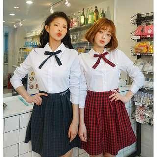 LEEGONG pinknoir dress 聯名設計款青春洋溢格紋設計連身裙 ( CHUU 官網代購 ) 洋裝 蝴蝶結