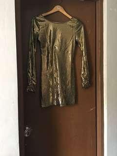 Baby Phat gold micro mini dress