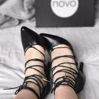 Black Novo Lace-up Heels