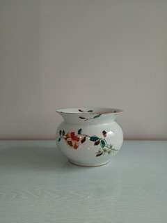 Republic period pot with enamel painting height 13.5cm diameter 18cm Perfect condition