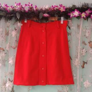 50🔖Red button down skirt