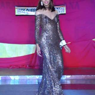 Fully Sequined Long Gown