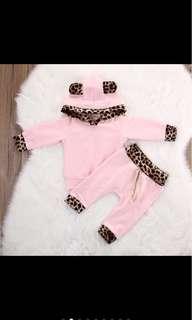 Baby girl kid leopard print hooded long sleeved top pants set infant toddler